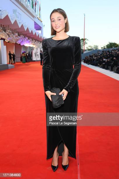 """Emma Rosi walks the red carpet ahead of the movie """"Notturno"""" at the 77th Venice Film Festival on September 08, 2020 in Venice, Italy."""