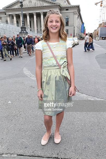 Emma Schweiger wearing a Dirndl by the label Owloon during the 'Fruehstueck bei Tiffany' at Tiffany Store ahead of the Oktoberfest 2015 on September...