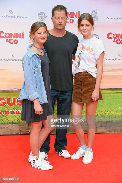 Emma Schweiger with her father Til Schweiger and her sister Lilli Schweiger attend the 'ConniCo' Berlin Premiere on August 13 2016 in Berlin Germany