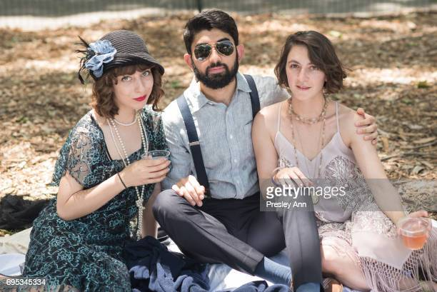 Emma Silverblat Arthur Tandan and Lena Klein attend 2017 Jazz Age Lawn Party on June 11 2017 in New York City
