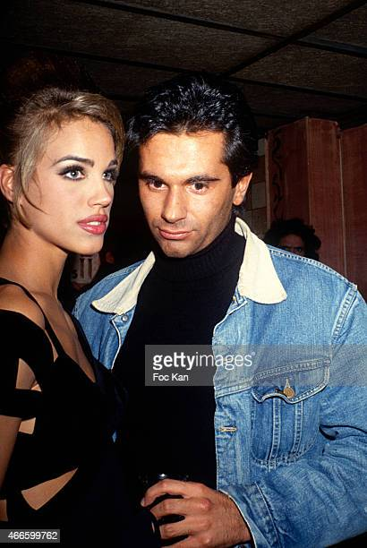 Emma Sjoberg and Jean Yves Le Fur attend a fashion week Party at Les Bains Douches in the 1990s in Paris France