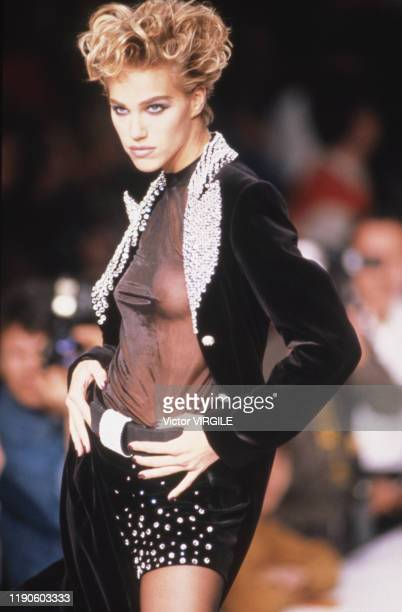 Emma Sjoberg walks the runway at the Martine Sitbon Ready to Wear Fall/Winter 19911992 fashion show during the Paris Fashion Week in March 1991 in...