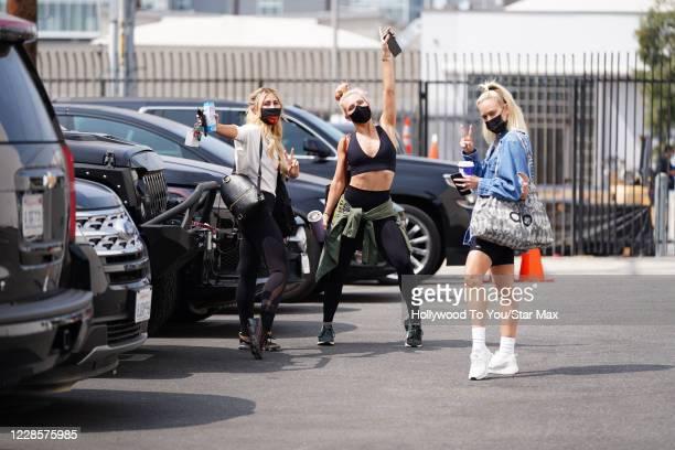 Emma Slater, Sharma Burgess and Peta Murgatroyd are seen on September 17, 2020 in Los Angeles, California.
