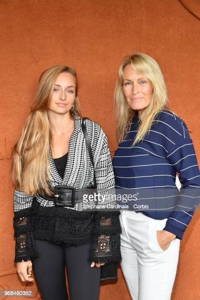 Emma Smet with her mother Estelle Lefebure attend the 2018 French Open Day Eleven at Roland Garros on June 6 2018 in Paris France