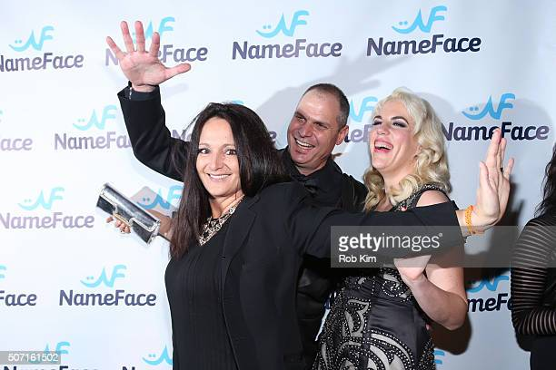 Emma SnowdonJones Steve Eichner and Daniela Kirsch attend the launch party for NameFacecom at No 8 on January 27 2016 in New York City