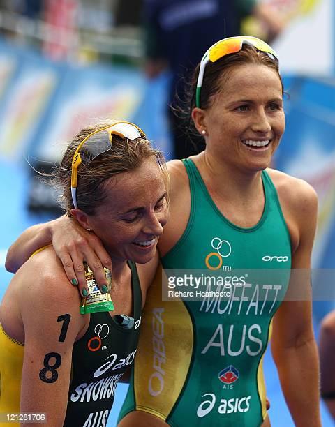Emma Snowsill and Emma Moffatt of Austalia at the end of the Women's Elite race during day one of the Dextro Energy Triathlon ITU World Championship...