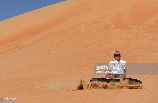 Emma Snowsill during the Laureus Sandboarding Experience as part of the 2011 Laureus World Sports Awards in the Liwa Desert Rub Al Khali on February...