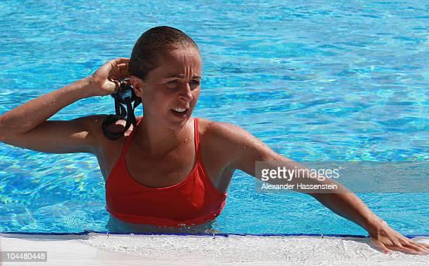 Emma Snowsill enjoys a swim during the 'Champion des Jahres' event week at the Robinson Club Quinta da Ria on September 27 2010 in Quinta da Ria...