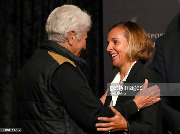 Emma Snowsill meets Dawn Fraser during the Sport Australia Hall of Fame Induction Media Opportunity at Crown Entertainment Complex on October 10 2019...