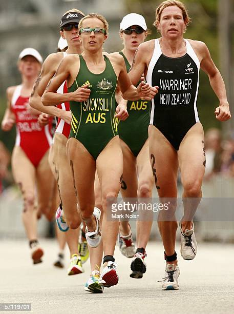 Emma Snowsill of Australia competes in the Run section of the Triathlon Women's Race at the St Kilda Foreshore and Beach Road during day three of the...