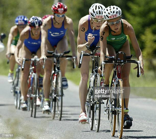 Emma Snowsill of Australia leads the cycling pack on her way to winning the Women's Elite event at the ITU World Triathlon Championships December 7...