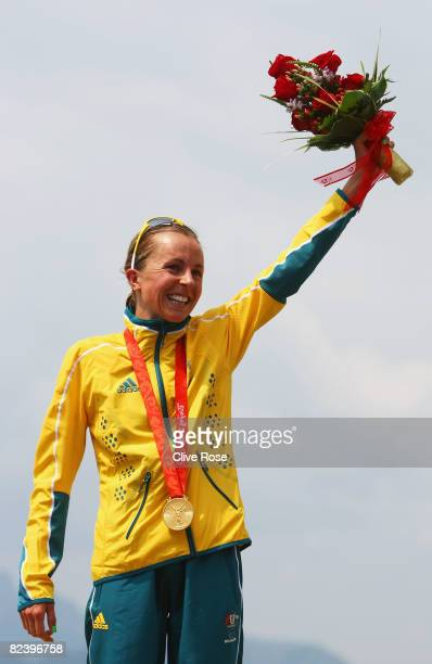Emma Snowsill of Australia poses with her gold medal after winning the women's triathlon event at the Triathlon Venue on Day 10 of the Beijing 2008...