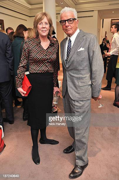 Emma Soames and Nicky Haslam attend the book launch party of David Hockney The Biography by Christopher Simon Sykes at Sotheby's on January 16 2012...