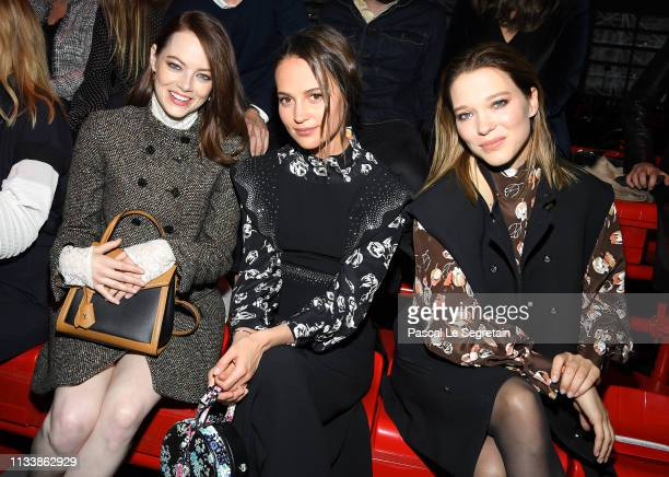 Emma Stone Alicia Vikander and Lea Seydoux attend the Louis Vuitton show as part of the Paris Fashion Week Womenswear Fall/Winter 2019/2020 on March...