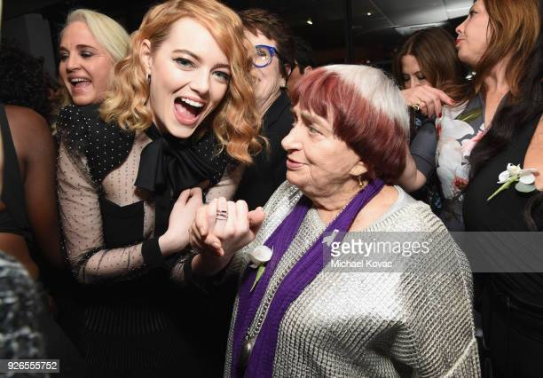 Emma Stone and Agnes Varda celebrate with Jane Walker by Johnnie Walker at the 11th Annual Women In Film PreOscar Cocktail Party at Crustacean on...