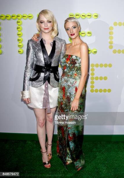 Emma Stone and Andrea Riseborough attend the premiere of Fox Searchlight Picture 'Battle Of The Sexes' at Regency Village Theatre on September 16...