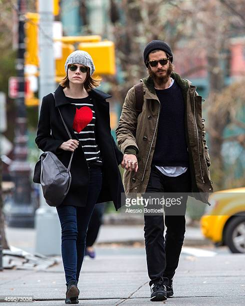 Emma Stone and Andrew Garfield are seen in West Village on November 25 2014 in New York City
