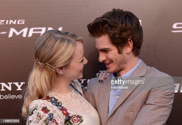 Emma Stone and Andrew Garfield attend the premiere of 'The Amazing SpiderMan' at Callao Cinema on June 21 2012 in Madrid Spain