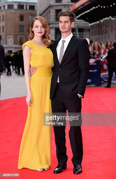 """Emma Stone and Andrew Garfield attend the World Premiere of """"The Amazing Spider-Man 2"""" held at the Odeon Leicester Square on April 10, 2014 in..."""