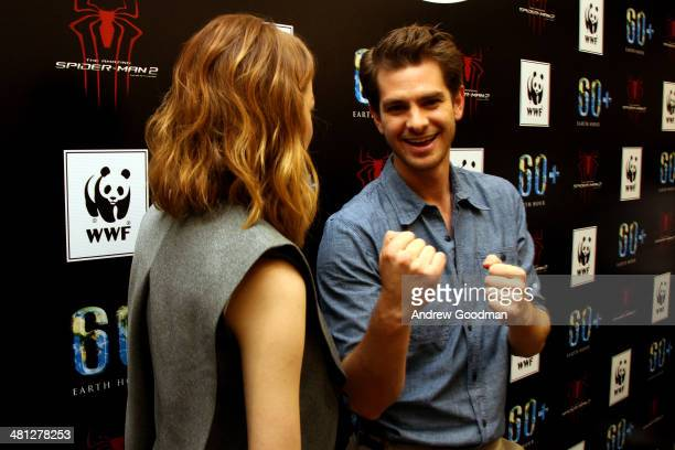 "Emma Stone and Andrew Garfield of ""The Amazing Spider-Man 2"" attend the Earth Hour Kick-Off with Spider-Man, The First Super Hero Ambassador for..."
