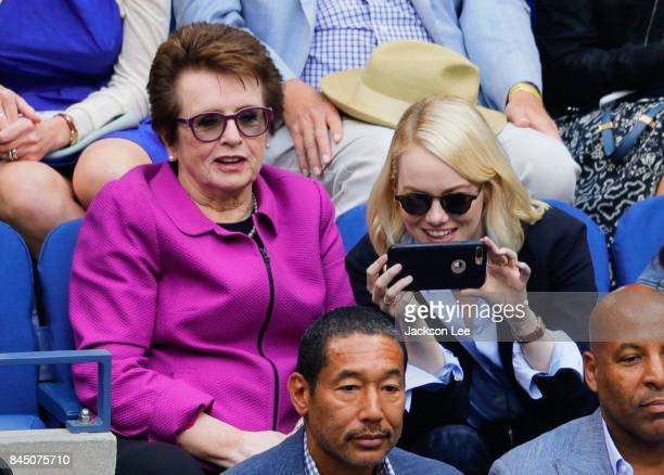 Emma Stone and Billie Jean King attend the 2017 US Open Women's Final with Hilary Swank and Philip Schneider at Arthur Ashe Stadium on September 9...