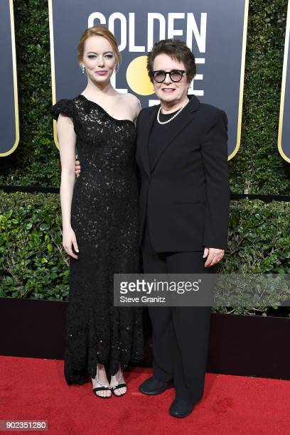 Emma Stone and Billie Jean King attend The 75th Annual Golden Globe Awards at The Beverly Hilton Hotel on January 7 2018 in Beverly Hills California