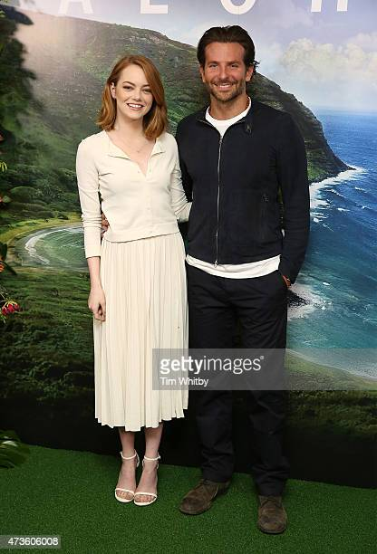 Emma Stone and Bradley Cooper attend a photocall for 'Aloha' at Soho Hotel on May 16 2015 in London England