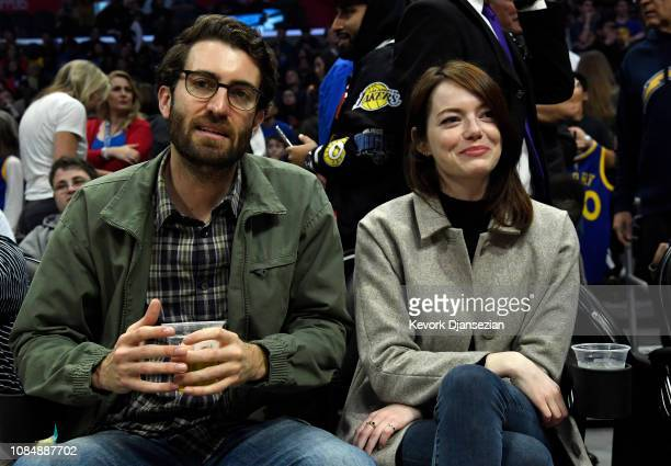 Emma Stone and Dave McCary attend the Golden State Warriors and Los Angeles Clippers basketball game at Staples Center on January 18 2019 in Los...