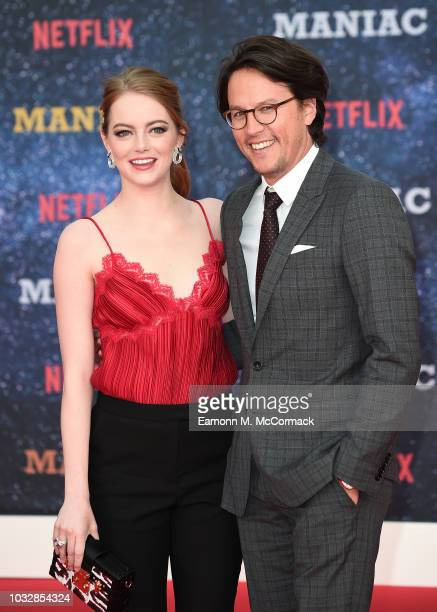 Emma Stone and Director Cary Fukunaga attends the World premiere of the new Netflix series Maniac at Southbank Centre on September 13 2018 in London...