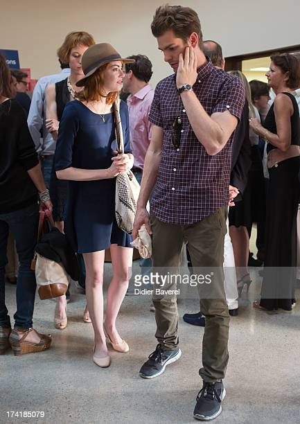 Emma Stone and her boyfriend Andrew Garfield attend the Woody Allen's concert at Anthea Antipolis theater of Antibes on July 21 2013 in Antibes France
