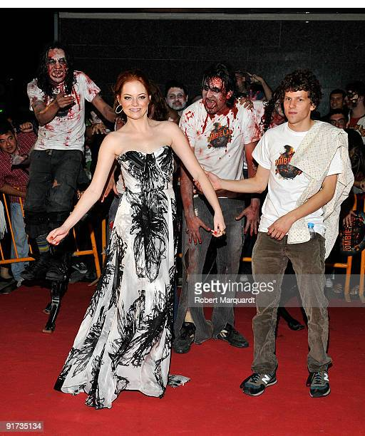 Emma Stone and Jesse Eisenberg attend the European Premiere for 'Zombieland' at the 42nd Sitges Film Festival on October 10 2009 in Barcelona Spain