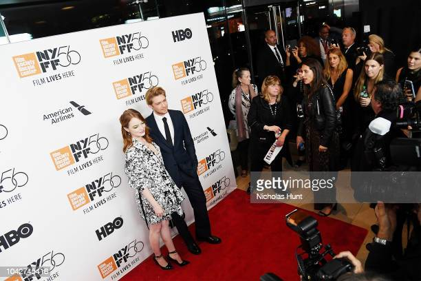 Emma Stone and Joe Alwyn attend the 56th New York Film Festival Opening Night Premiere Of The Favourite at Alice Tully Hall Lincoln Center on...