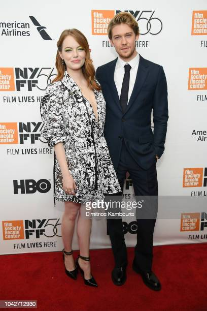 Emma Stone and Joe Alwyn attend the opening night premiere of The Favourite during the 56th New York Film Festival at Alice Tully Hall Lincoln Center...