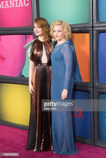 Emma Stone and Julia Garner attend the 'Maniac' season 1 New York premiere at Center 415 on September 20 2018 in New York City
