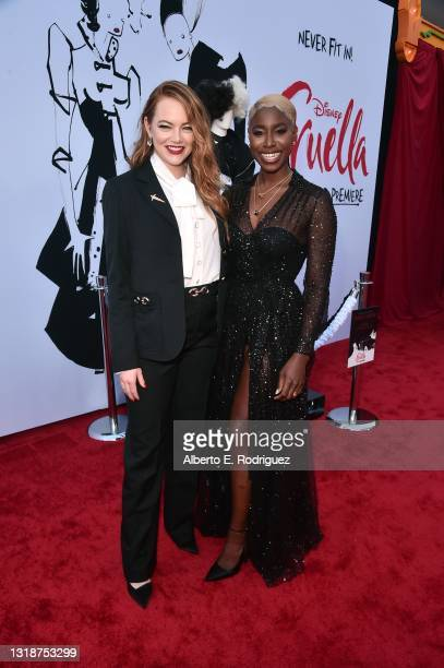 Emma Stone and Kirby Howell-Baptiste arrive at the premiere for Cruella at the El Capitan Theatre on May 18, 2021 in Los Angeles, California.