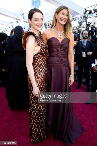 Emma Stone and Laura Dern attend the 91st Annual Academy Awards at Hollywood and Highland on February 24 2019 in Hollywood California