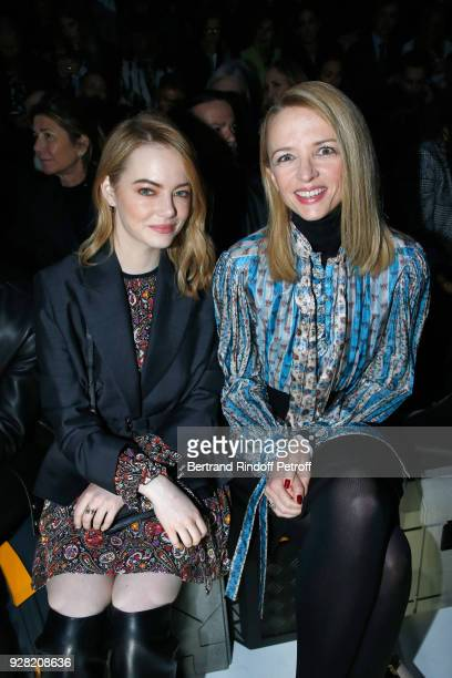 Emma Stone and Louis Vuitton's executive vice president Delphine Arnault attend the Louis Vuitton show as part of the Paris Fashion Week Womenswear...