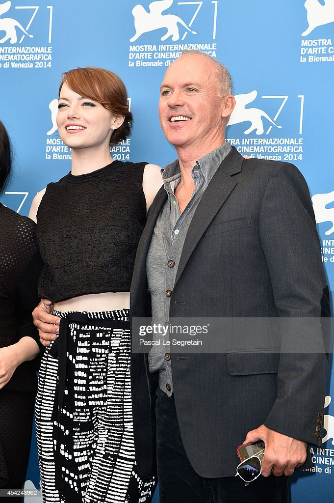 Emma Stone and Michael Keaton attend the 'Birdman' photocall during the 71st Venice Film Festival on August 27, 2014 in Venice, Italy.
