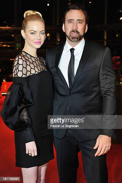 Emma Stone and Nicolas Cage attend the 'The Croods' Premiere during the 63rd Berlinale International Film Festival at Berlinale Palast on February 15...