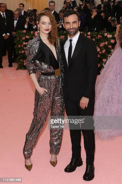 Emma Stone and Nicolas Ghesquiere attend the 2019 Met Gala celebrating Camp Notes on Fashion at The Metropolitan Museum of Art on May 6 2019 in New...