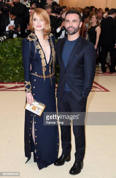 Emma Stone and Nicolas Ghesquiere attend the Heavenly Bodies Fashion The Catholic Imagination Costume Institute Gala at Metropolitan Museum of Art on...