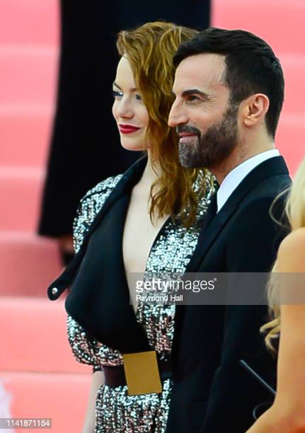Emma Stone and Nicolas Ghesquière attend The 2019 Met Gala Celebrating Camp Notes on Fashion at Metropolitan Museum of Art at on May 6 2019 in New...