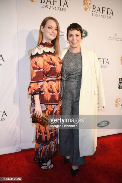Emma Stone and Olivia Colman arrive at the BAFTA Los Angeles Tea Party at the Four Seasons Hotel Los Angeles in Beverly Hills on January 05 2019 in...
