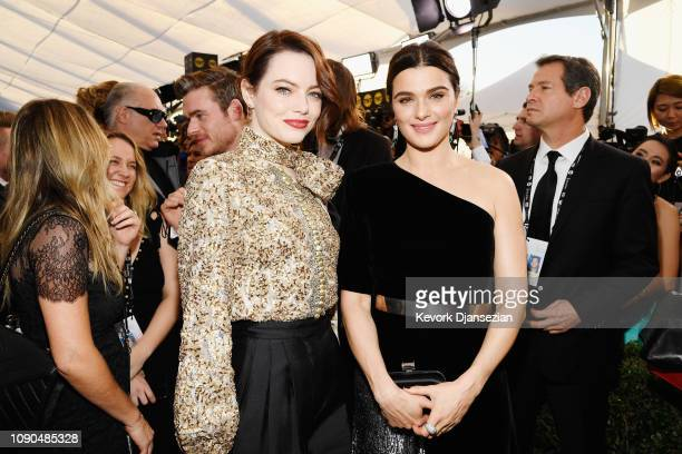 Emma Stone and Rachel Weisz attend the 25th Annual Screen ActorsGuild Awards at The Shrine Auditorium on January 27 2019 in Los Angeles California