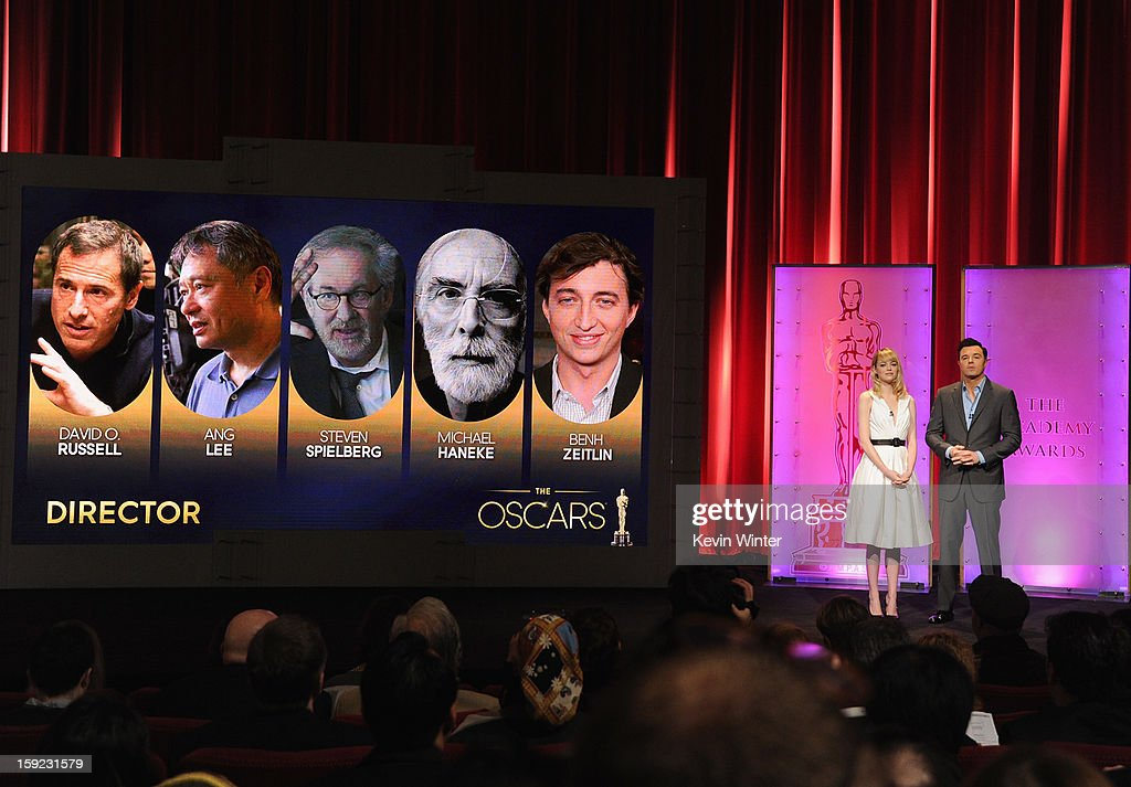 Emma Stone and Seth MacFarlane announce the nominees for Best Director at the 85th Academy Awards Nominations Announcement at the AMPAS Samuel Goldwyn Theater on January 10, 2013 in Beverly Hills, California.