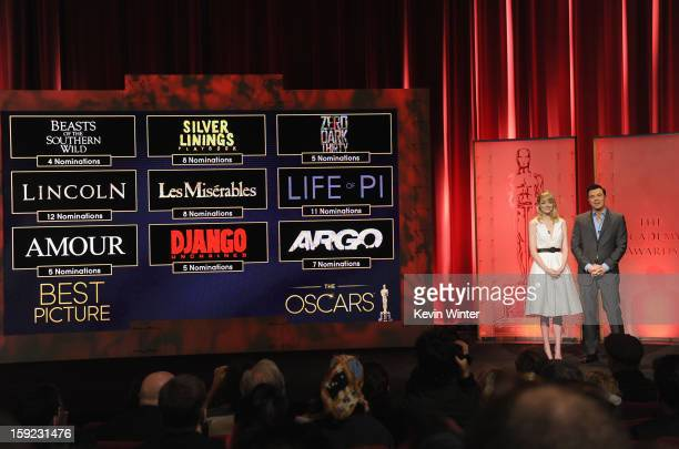 Emma Stone and Seth MacFarlane announce the nominees for Best Picture at the 85th Academy Awards Nominations Announcement at the AMPAS Samuel Goldwyn...