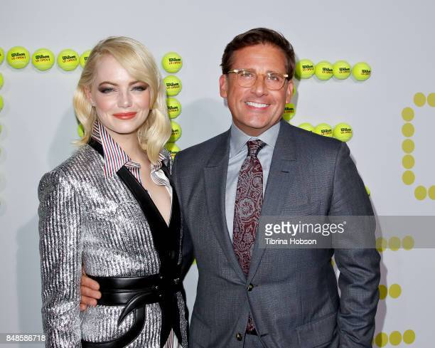 Emma Stone and Steve Carell attend the premiere of Fox Searchlight Picture 'Battle Of The Sexes' at Regency Village Theatre on September 16 2017 in...