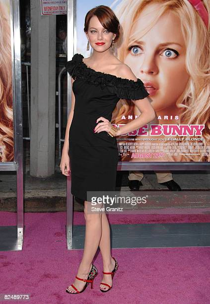 "Emma Stone arrives at Sony Pictures' Premiere of ""House Bunny"" at the Mann Village Theatre on August 14, 2008 in Los Angeles, California."