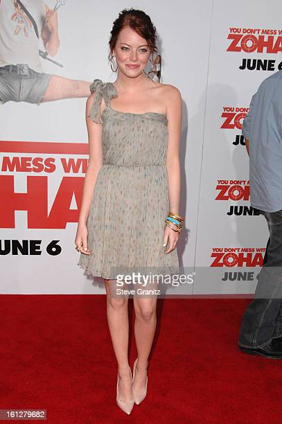 Emma Stone arrives at Sony Pictures Premiere of You Don't Mess With the Zohan on May 28 2008 at the Grauman's Chinese Theatre in Hollywood California