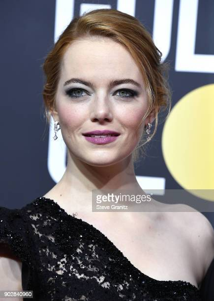 Emma Stone arrives at the 75th Annual Golden Globe Awards at The Beverly Hilton Hotel on January 7 2018 in Beverly Hills California